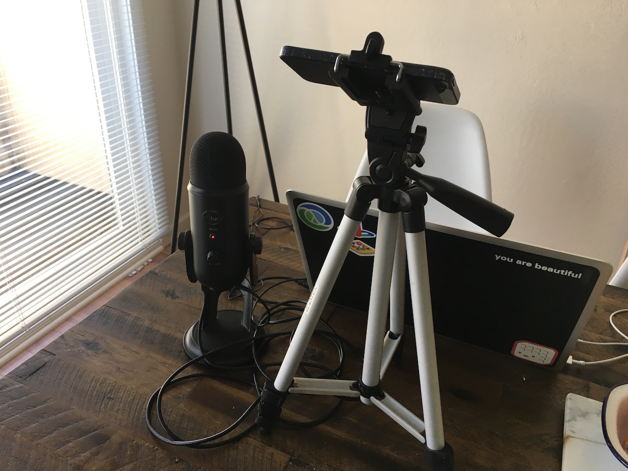My homebrew usability testing setup, complete with microphone and tripod.