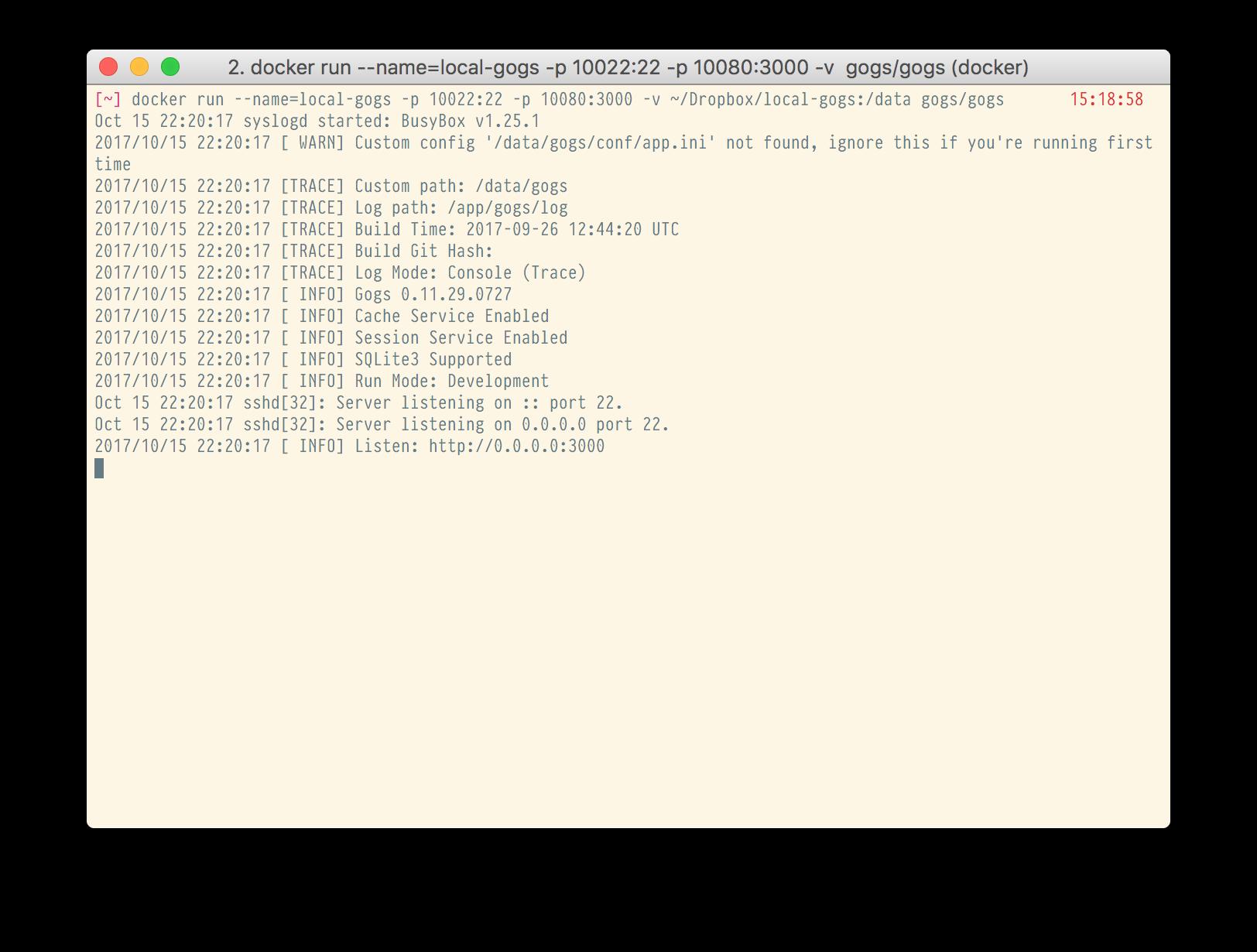 Local GitHub-like source control on Mac with Gogs, Docker, and Dropbox